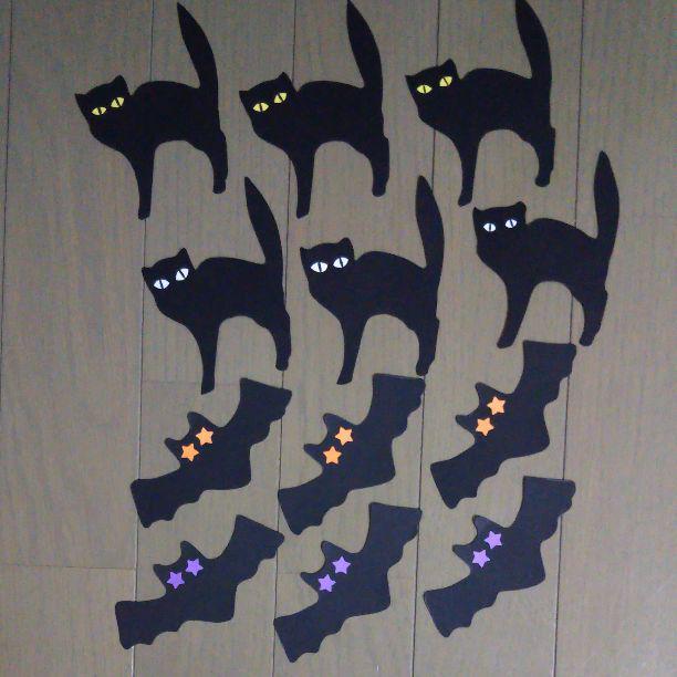 メルカリ ハロウィン 黒ネコとコウモリ 壁面部屋飾り介護施設32 300